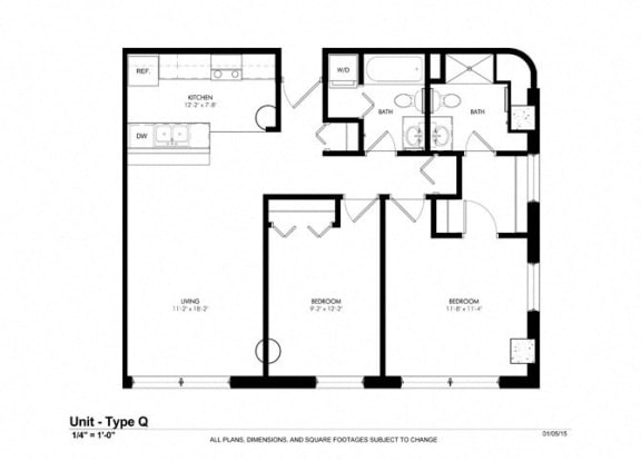 1 Bed - 1 Bath |830 sq ft - Floorplan at Cosmopolitan Apartments