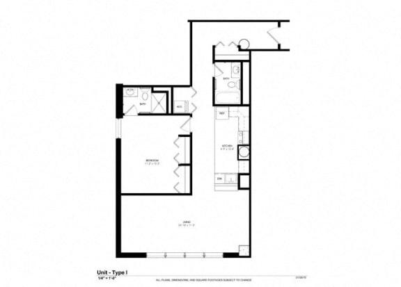1 Bed - 1 Bath |744 sq ft - Floorplan at Cosmopolitan Apartments