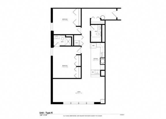 2 Bed - 2 Bath |804 sq ft - Floorplan at Cosmopolitan Apartments