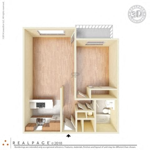 1 Bed, 1 Bath, 621 square feet floor plan 3d