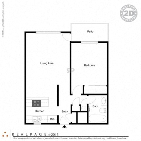 1 Bed, 1 Bath, 621 square feet floor plan