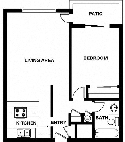 1 Bed, 1 Bath, 621 square feet floor plan 2