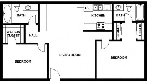 2 Bed, 2 Bath, 908 square feet floor plan