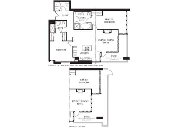 San Diego 2 Floorplan at Astoria at Central Park West Apartments