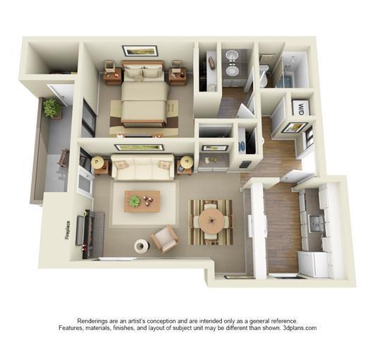 1 Bed, 1 Bath, 722 sq. ft. Juniper