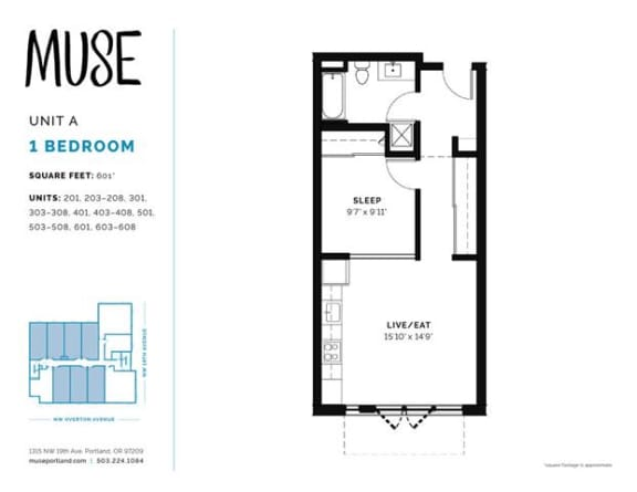 1 Bed, 1 Bath, 601 sq. ft. Unit A floor plan