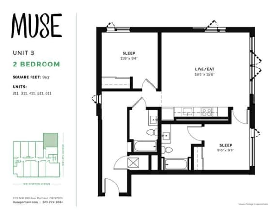 2 Bed, 2 Bath, 993 sq. ft. Unit B floor plan