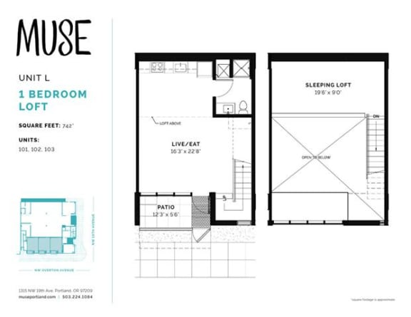 1 Bed, 1 Bath, 742 sq. ft. Unit L floor plan