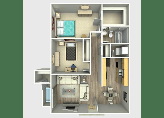 2 Bed, 1 Bath, 850 sq. ft. Colorado Floor Plan