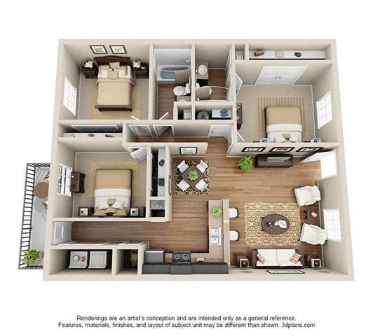 3 Bed, 2 Bath, 1082 sq. ft.