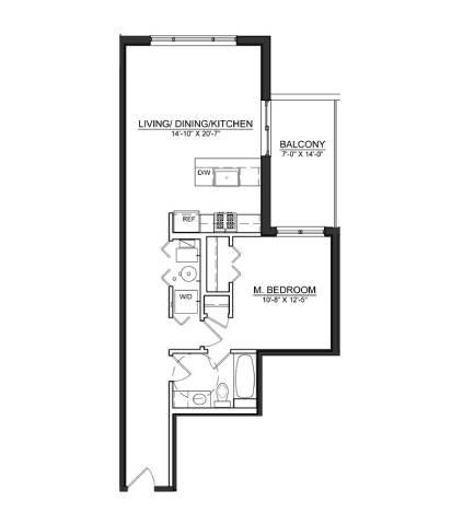 Floor Plan  1 Bed 1 Bath A2