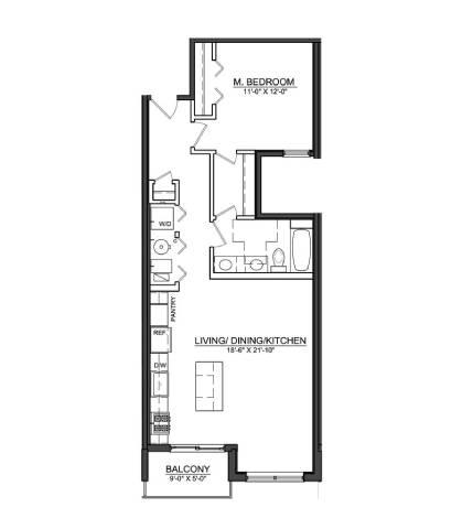 Floor Plan  1 Bed 1 Bath A3