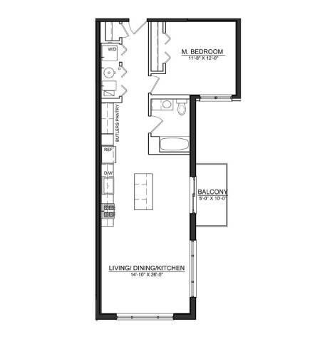 Floor Plan  1 Bed 1 Bath A4