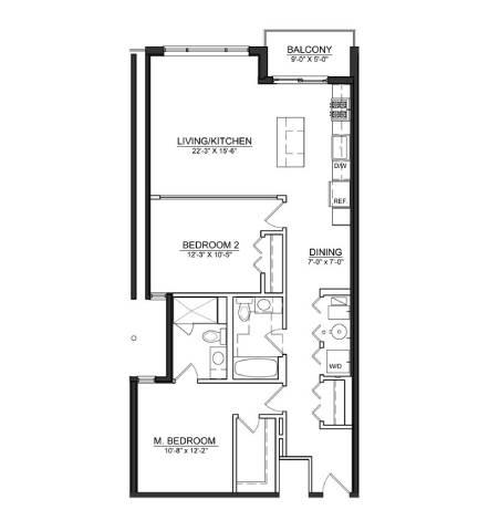 Floor Plan  2 Bed 2 Bath B2
