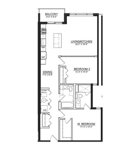 Floor Plan  2 Bed 2 Bath B3