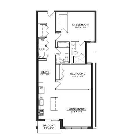 Floor Plan  2 Bed 2 Bath B4