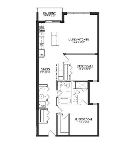 Floor Plan  2 Bed 2 Bath B5