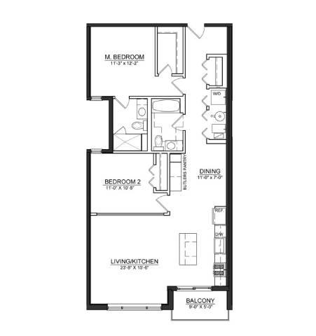 Floor Plan  2 Bed 2 Bath B7