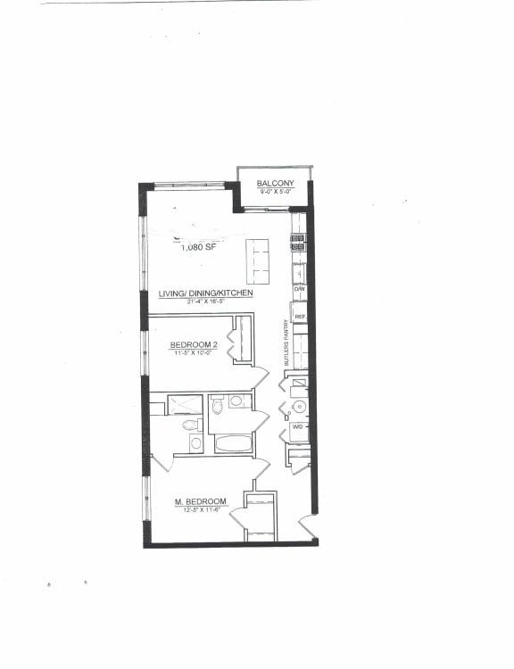 Floor Plan  2 Bed 2 Bath B1