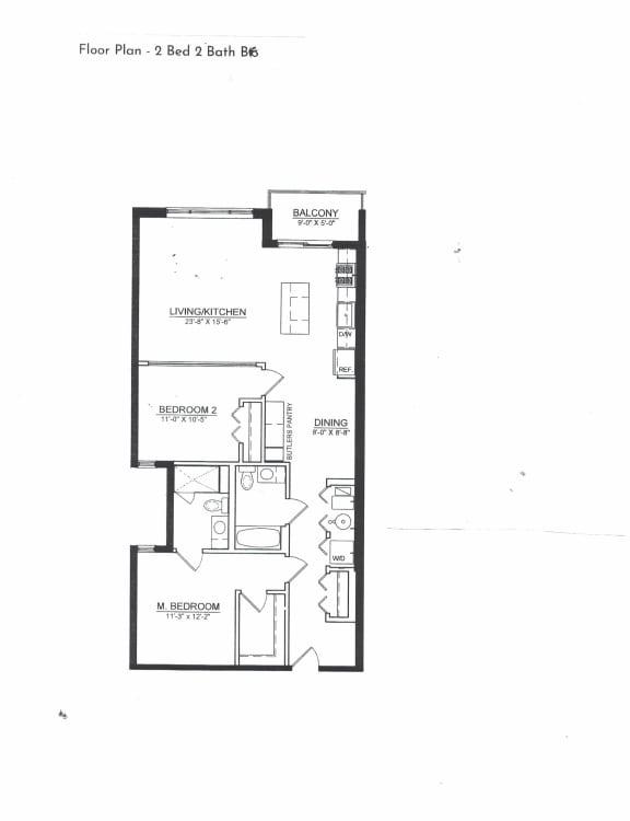Floor Plan  2 Bed 2 Bath B6