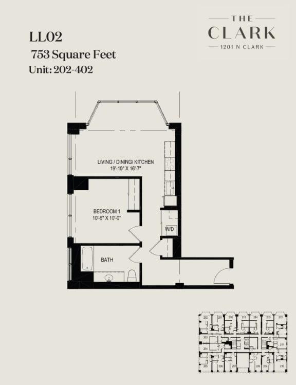 Floor Plan  units 202, 302, 402