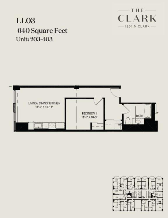 Floor Plan  units 203, 303, 403