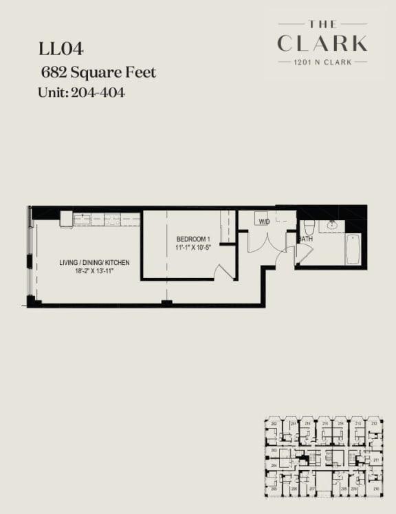 Floor Plan  units 204, 304, 404