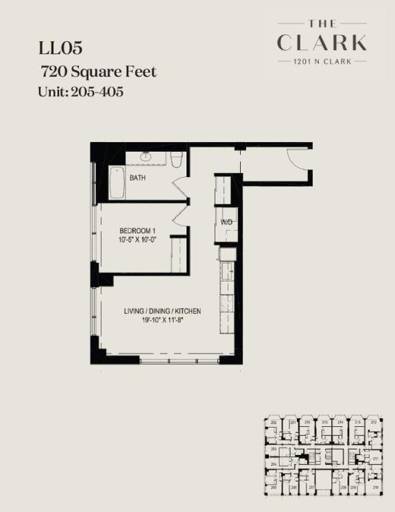 Floor Plan  units 205, 305, 405