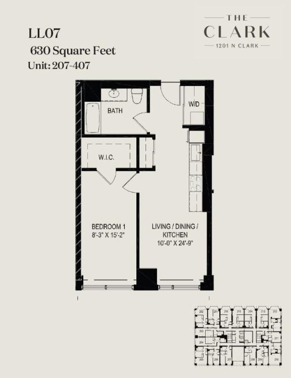 Floor Plan  units 207, 307, 407