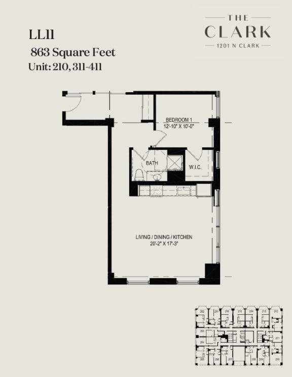 Floor Plan  units 210, 311, 411