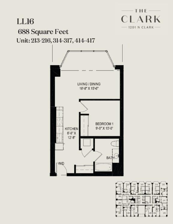 Floor Plan  units 213-16, 314-17, 414-17