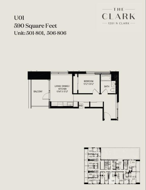 Floor Plan  units 501, 601, 701, 801, 506, 606, 706, 806