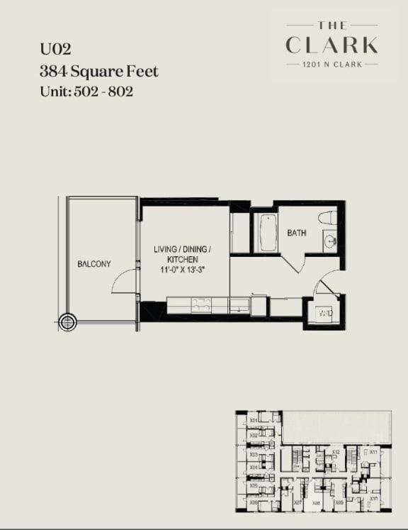 Floor Plan  units 502, 602, 702, 802
