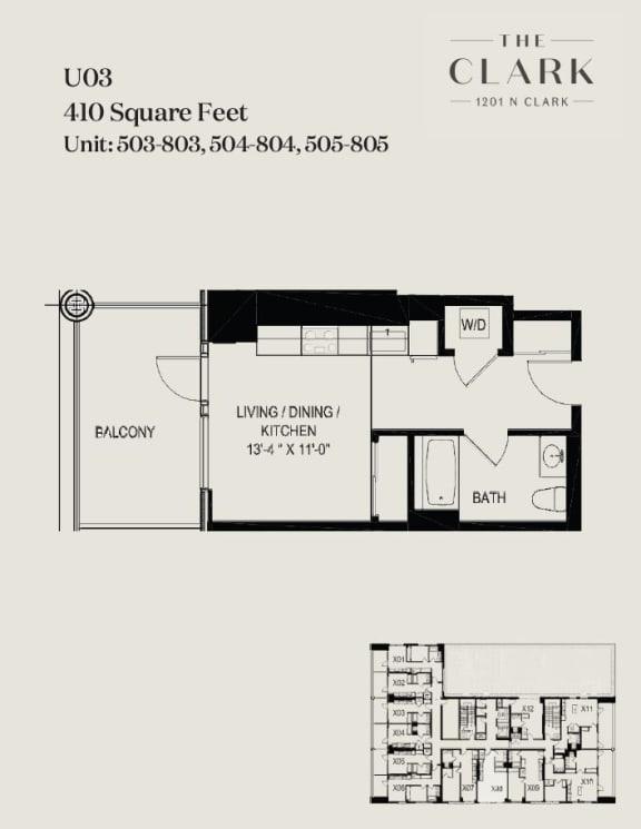 Floor Plan  units 503-05, 603-05, 703-05, 803-05