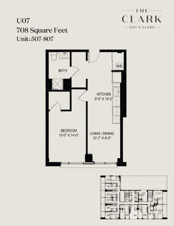 Floor Plan  units 507, 607, 707, 807
