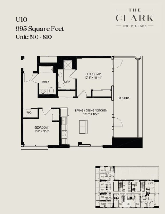 Floor Plan  units 510, 610, 710, 810