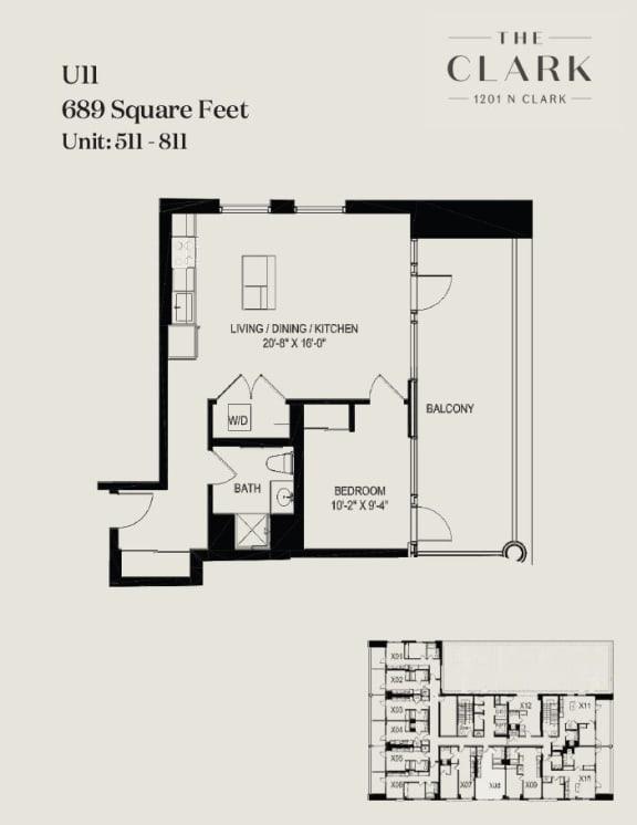Floor Plan  units 511, 611, 711, 811