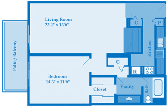 Cottonwood Creek 1 Bedroom Floor Plan image depicting layout. Patio/balcony, bedroom and living room on the left. Bathroom and kitchen on the right.