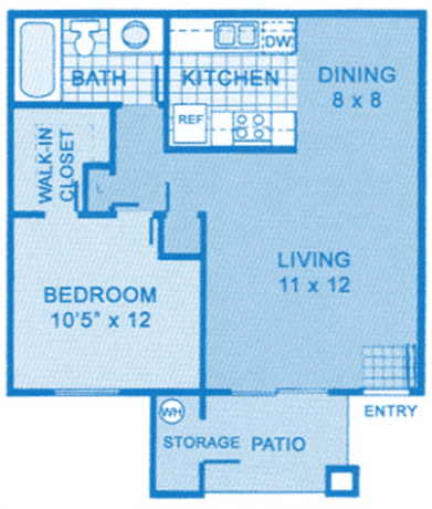 Cantera 1B Floor Plan image depicting layout of home. Kitchen, dining and living room on the right, bedroom and bathroom on the left.