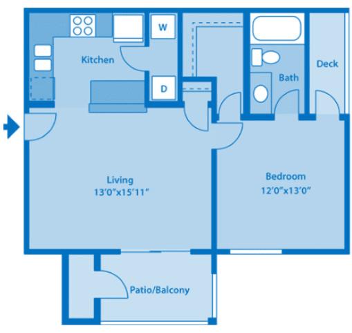 Sundown Village 1B Floor Plan image depicting floor plan layout.