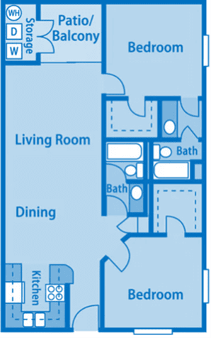 Canyon Creek 2B Floor Plan image depicting layout. Kitchen, dining, living room and patio/balcony on the left. Bedrooms, and bathrooms on the right.