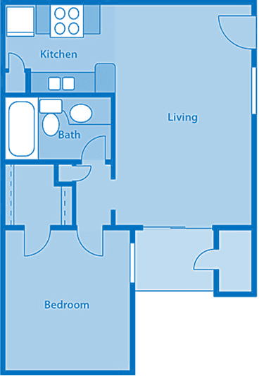 Rio Vista One Bedroom B Apartment Layout image.