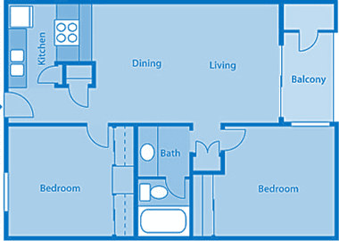 Rio Vista Two Bedroom D Apartment Layout image.
