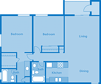 Rio Vista Two Bedroom F Apartment Layout image.