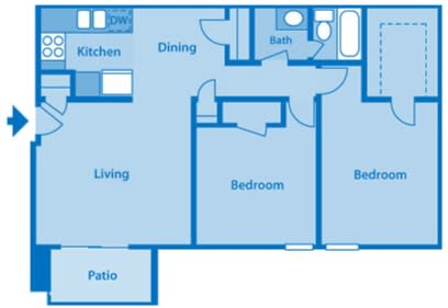 Somerpointe Apartments The Jade floor plan depicting layout of home.