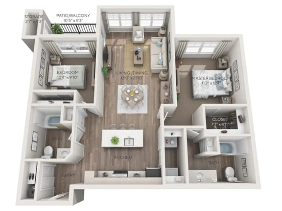 Stevens II 3d floorplan dimensioned