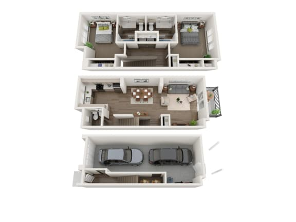 Floor Plan  2 bedroom townhome at Sawyer Trail, Phase II