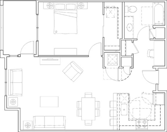 Floor Plan  1x1 with Study