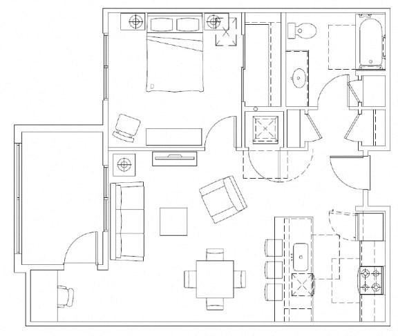 Floor Plan  1 Bedroom, 1 Bathroom Floorplan in Mountlake Terrace, WA