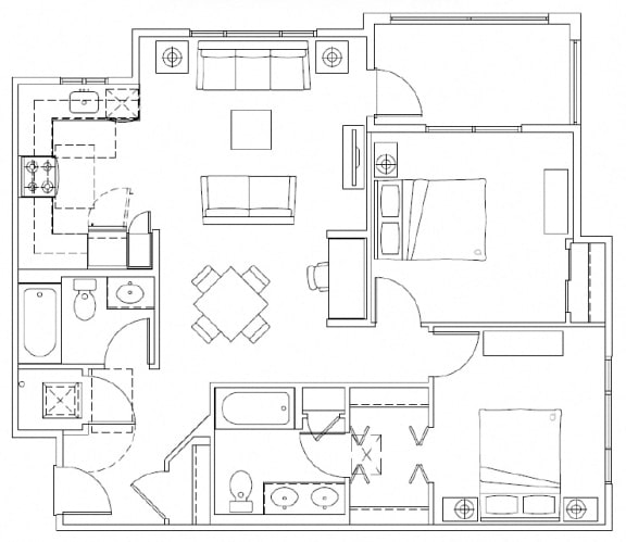 Floor Plan  2 Bedroom, 2 Bathroom Floorplan in Mountlake Terrace, WA